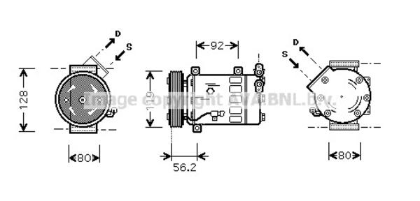 Compresseur pour PEUGEOT 206 SW 1.4 16V 88cv (2E/K) (65kw