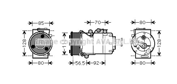 Compresseur pour FORD FOCUS C-MAX 1.8 TDCi 115cv (85kw