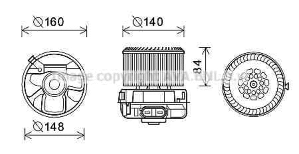 Moteur de ventilateur de chauffage pour CITROËN C1 1.0