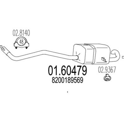 Silencieux arriere pour RENAULT MEGANE II 1.6 16V 113cv