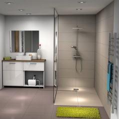 douche à l'italienne et sol bois