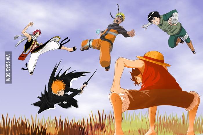 Download now goku and luffy vs vegeta and naruto anime amino. Luffy Vs Naruto Vs Ichigo Vs Rock Lee Vs Natsu 9gag