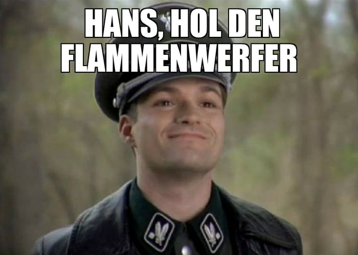 The Correct Translation For Hans Get The Flamethrower You Are Welcome 9GAG