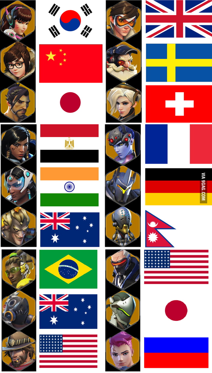 Overwatch Heroes And Their Countries 9GAG