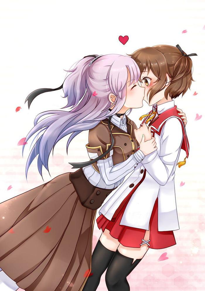 Anime Yuri Kiss Gif : anime, Surprise, Kiss!