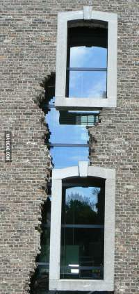 Really interesting cracked building window design in the ...