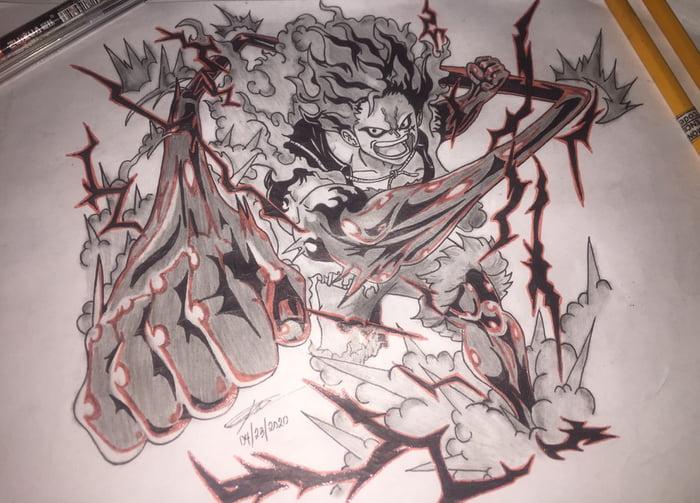 #drawing #luffy #gear #snakeman #tutorial #draw #step #step #pencilhọc #vẽ #luffy #snakeman. My Drawing Of Luffy 4th Gear Snakeman 9gag
