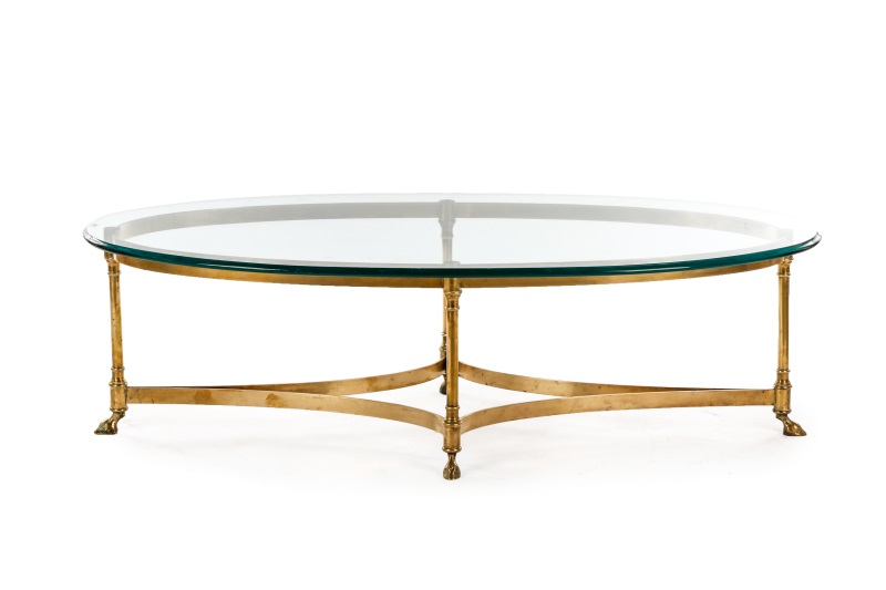 attr to la barge oblong glass top coffee table