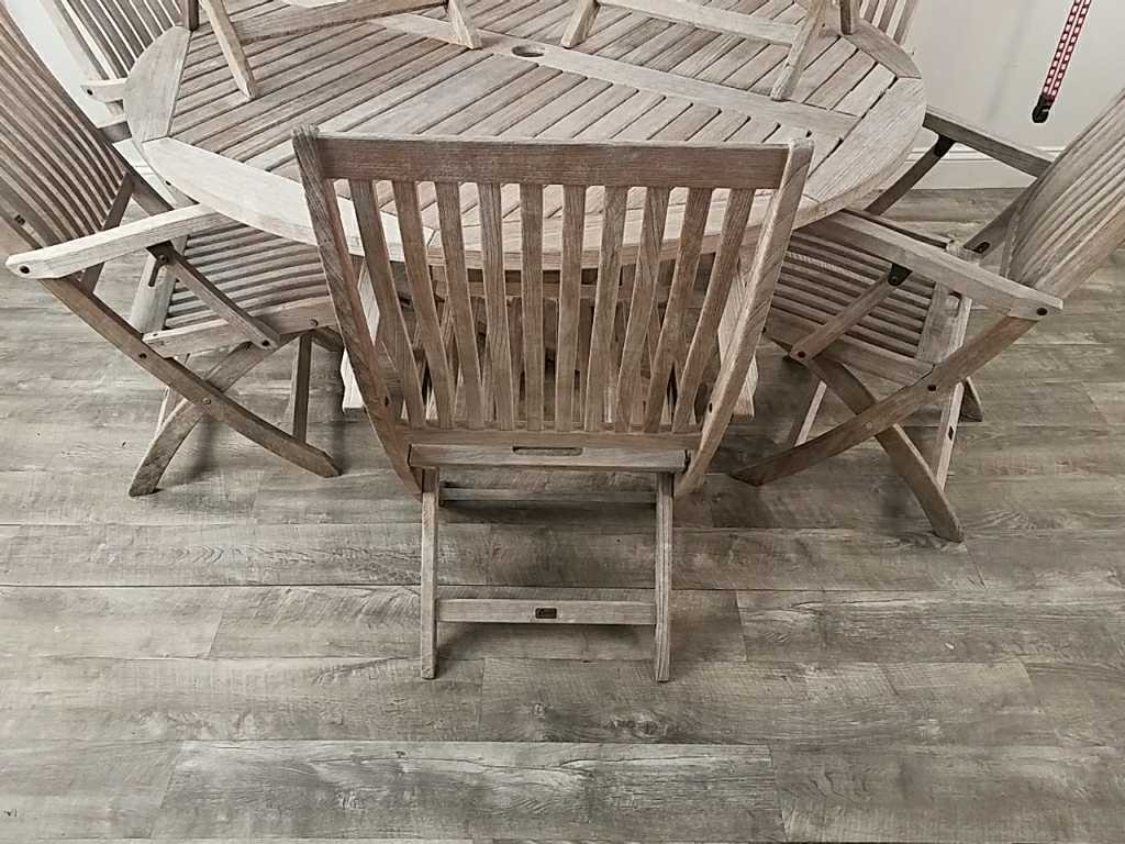 gloster bristol teak outdoor table and chairs
