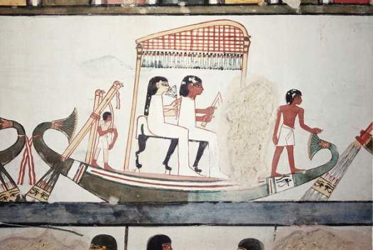 Statues of Menna and his wife in a boat, from the Tomb of Menna, New Kingdom (wall painting)