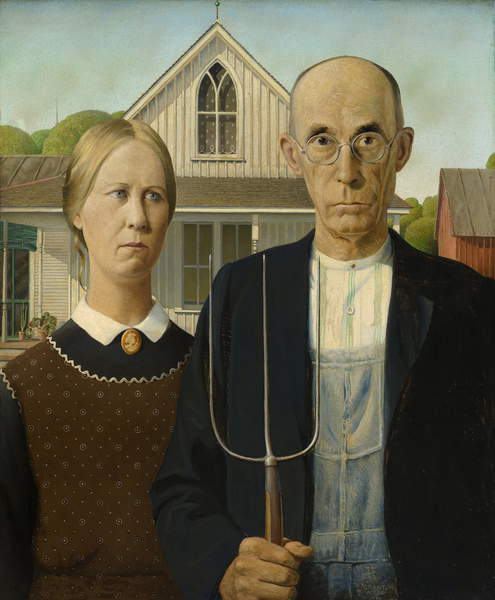 American Gothic, 1930 (oil on beaver board)