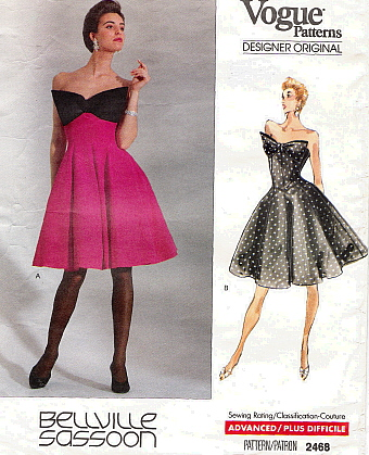 Early 1990s Bellville Sassoon party dress pattern - Vogue 2468