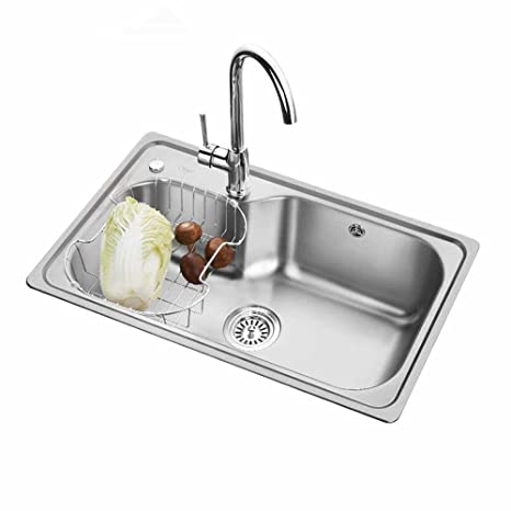 kitchen sink amazon cabinet design tool oulin 欧琳水槽加厚304不锈钢单槽73450厨房洗菜盆配7502纯铜龙头 亚马逊 欧琳水槽加厚304不锈钢单槽73450厨房洗菜盆配