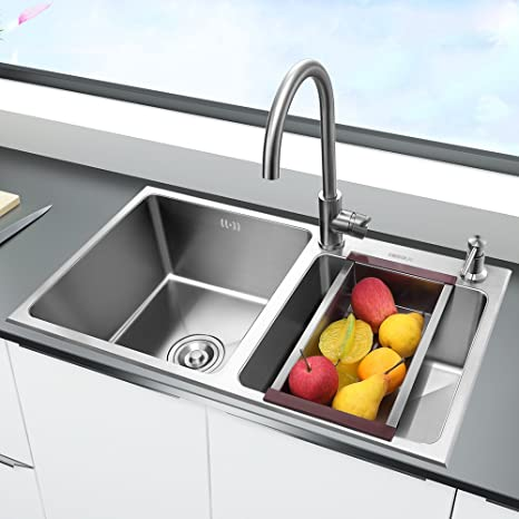 kitchen sink amazon undermount corner higold 悍高sus304不锈钢水槽双槽一体成型不锈钢厨房水槽加大加厚型洗菜 悍高sus304不锈钢水槽双槽一体成型不锈钢厨房水槽加大加