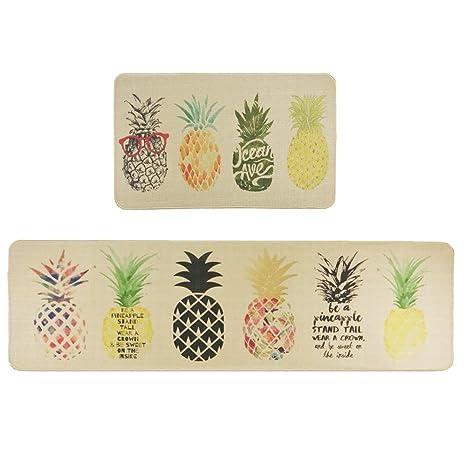 kitchen rug runners cute utensils wolala 家用天然橡胶2 件套防滑厨房地毯和水果菠萝舒适抗 洗室内地毯床边