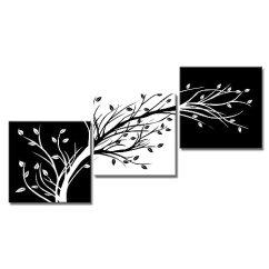 Kitchen Art Prints Cushion Mat Viivei 3 面板黑白帆布叶树花卉墙壁艺术家居装饰客厅卧室厨房办公室现代 面板黑白帆布叶树花卉墙壁艺术家居装饰客厅卧室厨房办公室