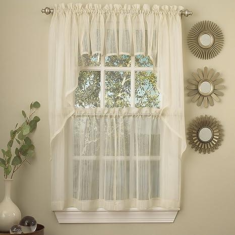 kitchen curtains amazon rug set 厨房窗帘套装包括波幔和帘片 sweet home collection 价格报价图片