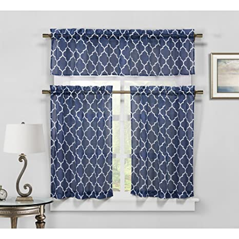 kitchen curtains amazon cabinet veneer duck river geo 人造亚麻厨房窗帘3 件套 蓝geknv 12 12124