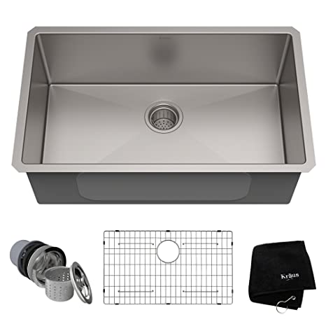 kraus kitchen sinks appliance packages stainless steel 美国kraus 克劳思1 5mm厚304不锈钢拉丝单盆厨房水槽手工制作台下式安装 5mm厚304不锈钢拉丝单盆厨房水槽手工