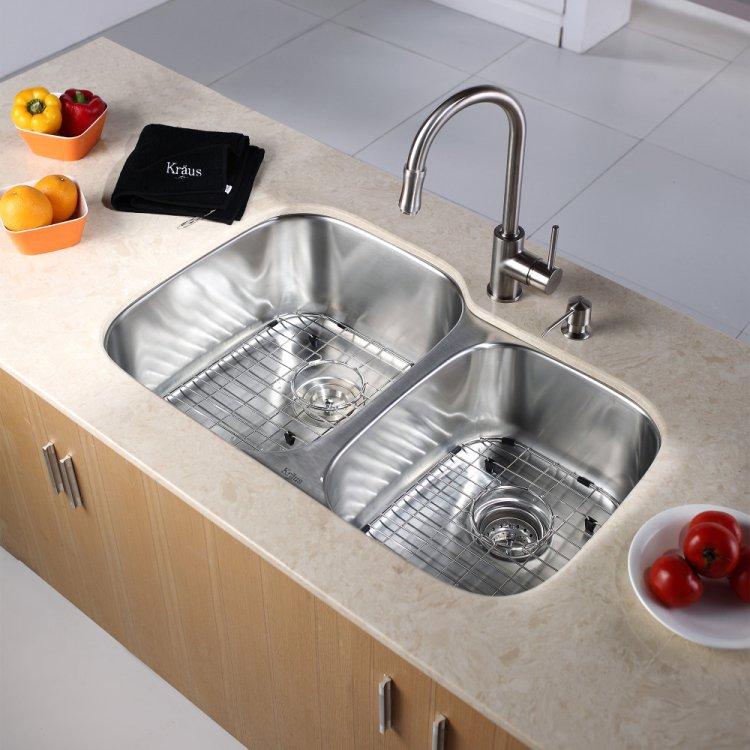24 kitchen sink discounted cabinets 美国kraus 克劳思1 5mm厚304不锈钢拉丝双盆厨房水槽一体成型台下式安装 克劳思加厚1 5mm 304不锈钢拉丝厨房单盆水槽