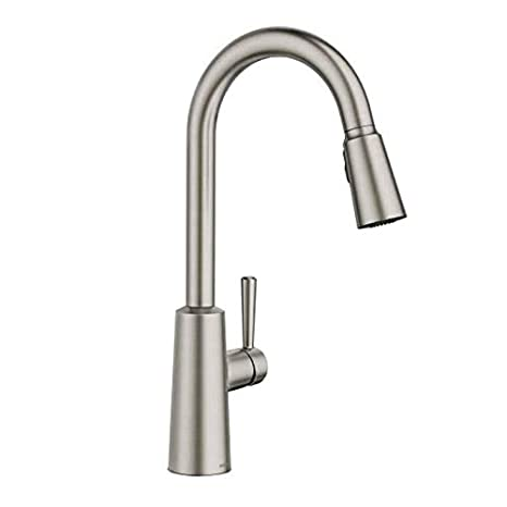 stainless steel kitchen faucet with pull down spray cost for new cabinets moen 摩恩7402 riley 下拉式喷雾高弧厨房水龙头 带反射和电力cl 斑点抗 带反射和