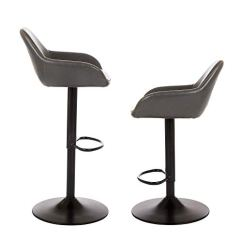 Chrome Kitchen Chairs Black Trash Can Glitzhome 复古铬合金餐厅厨房椅人造革 吧凳皮革座椅2 件套 厨具 亚马逊中国 铬厨房椅