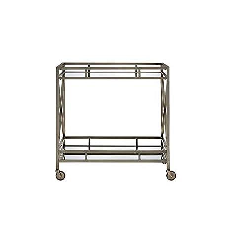 kitchen serving cart pulls and handles for cabinets major q 现代风格玻璃顶部金属框架厨房岛葡萄 服务车带脚轮 亚马逊中国 服务车带
