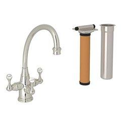 Rohl Kitchen Faucet Island Sink A 1411 U Kit1420ls 2 Perrin 和rowe Triple 手柄过滤厨房水龙头带 手柄过滤厨房水龙头