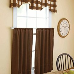 Kitchen Valance Purple Wall Tiles Brown Off White Country Plaid Buffalo 格子3 件套厨房窗帘套层帷幔