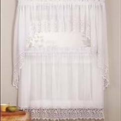 Kitchen Cafe Curtains Ikea Cabinet Doors Mk Collection 3 件白色或古董压纹厨房 咖啡馆窗帘层和围巾套装白色 咖啡馆窗帘层和围巾套装白色unknown 价格报价图片