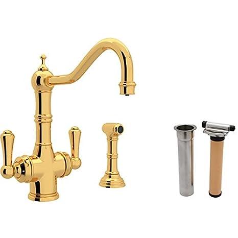rohl kitchen faucet colored appliances u 1570ls ib 2 triflow lever 厨房水龙头带侧喷雾和过滤器包装 厨房水龙头带侧