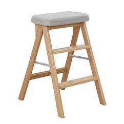 Kitchen Stool Counters And Cabinets 香木语餐凳梯凳可折叠高凳子厨房创意实木板凳家用多功能椅子 原木色 香木语餐凳梯凳可折叠高凳子厨房创意实木板凳家用多