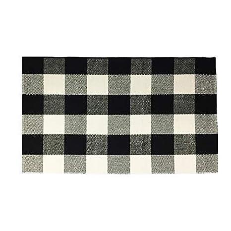 kitchen rugs amazon marble top round table dave z one buffalo 方格地毯 黑白格子地毯 棉质手工编织格子地毯可洗 棉质手工