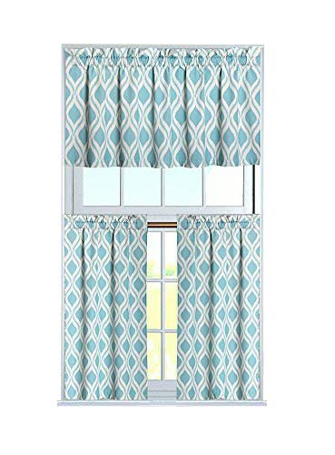 blue kitchen valance chip cabinets goodgram 超豪华绿松石几何沙发3 件套厨房窗帘套和帷幔套装