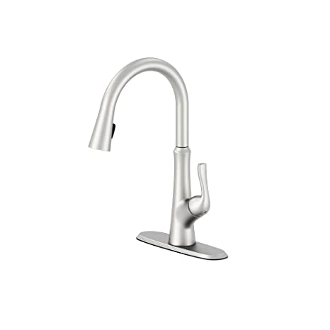 stainless steel kitchen faucet with pull down spray americana decor schon 67550 0108d2 隐藏式单手柄下拉式喷雾器厨房水龙头 不锈钢