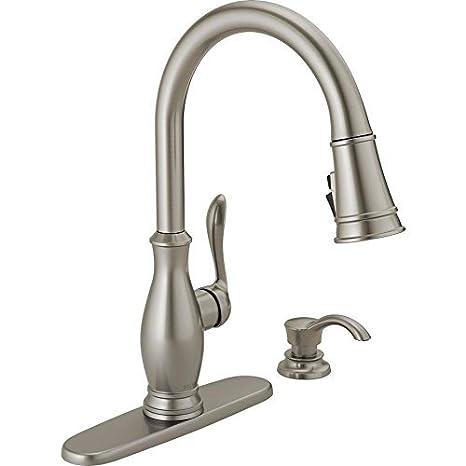 stainless steel kitchen faucet with pull down spray outdoor patio delta zalia spotshield 不锈钢1 手柄下拉式厨房水龙头 价格