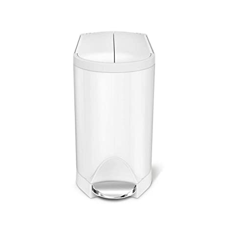 simplehuman kitchen trash can tall table and chairs butterfly step 垃圾桶 不锈钢 10 升 2 6 克白色钢10 l