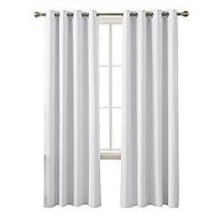 Grommet Kitchen Curtains Industrial Faucets 200元左右的窗帘 窗纱推荐 品牌销量排行 慢慢买手机版 Deconovo 隔热遮光索环顶部房间变暗窗帘星白色52x84 Inch