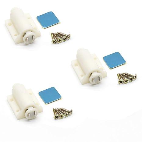 kitchen cabinet latches island autoly 塑料磁性触摸闩锁推式磁性闩锁适用于门抽屉3 件装 米色