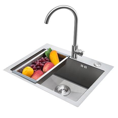 kitchen sink amazon delta pull down faucet higold悍高1 2mm厚钢板纯手工厨房水槽304不锈钢水槽加厚拉丝洗菜盆台上下 2mm厚钢板纯手工厨房水槽304不锈钢水槽加厚
