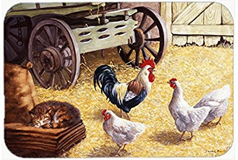 rooster kitchen rug how to repair moen faucet caroline s treasures bdba0339 厘米高的公鸡和鸡在谷仓厨房或浴室垫子