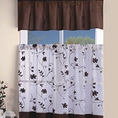 Kitchen Curtain Sets Labels 优雅家居系列3 件套刺绣厨房窗帘套装带花卉刺绣层和波格窗饰套装ehrayne 件套刺绣厨房窗帘套装带花卉刺绣层和波