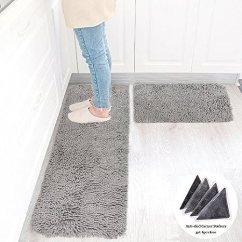 Kitchen Rugs Amazon Mats And Wolala Home 2 件套结实吸水防滑厨房地毯和地毯超软雪松形乳胶衬垫纯色 件套结实吸水防滑厨房地毯和地毯超软雪松形
