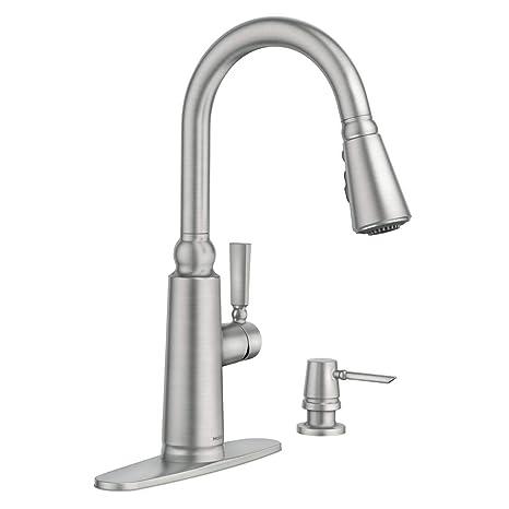stainless steel kitchen faucet with pull down spray ventless hood moen coretta 单手柄下拉式喷雾器厨房水龙头具有反射和增强功能 防