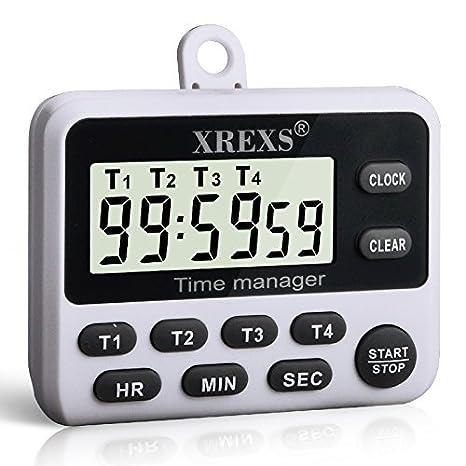 digital kitchen timers double sink xrexs 4 频道数字厨房计时器 烹饪计时器 大型lcd 显示屏 组同时计时