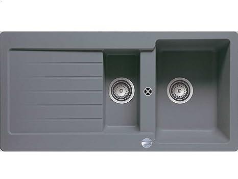 gray kitchen sink garbage can for teka lugo 60 b tg 灰色铝金属花岗岩厨房水槽嵌入式水槽 厨具 亚马逊中国