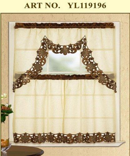 kitchen cafe curtains metal shelf wpm 3 件套灰褐色绣花闪光蕾丝厨房 咖啡馆窗帘层和垂布 价格报价图片 咖啡馆窗帘层和