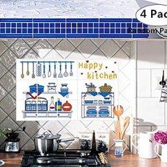 Kitchen Wall Art Decor Decorating Ideas Kitchens Magnoloran 4 件装厨房背景壁纸贴纸 防油可移除墙贴乙烯基艺术装饰家居 防油可移除墙贴