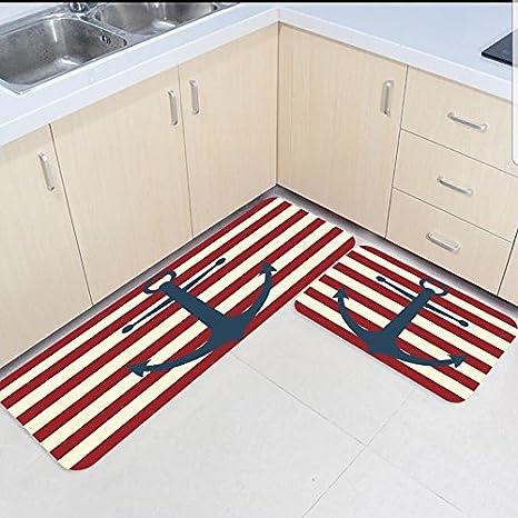 amazon kitchen mat new knives sun shine 2 件套厨房垫和地毯套装复古外观红白航海锚家居deocr 防滑区域 件套厨房垫和地毯套装复古外观红白航海