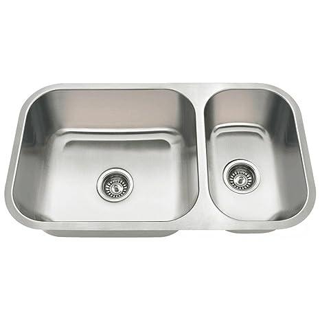 kitchen sink at lowes unfinished islands mr direct 3218b undermount 偏移双碗不锈钢厨房水槽 家居装修 亚马逊中国
